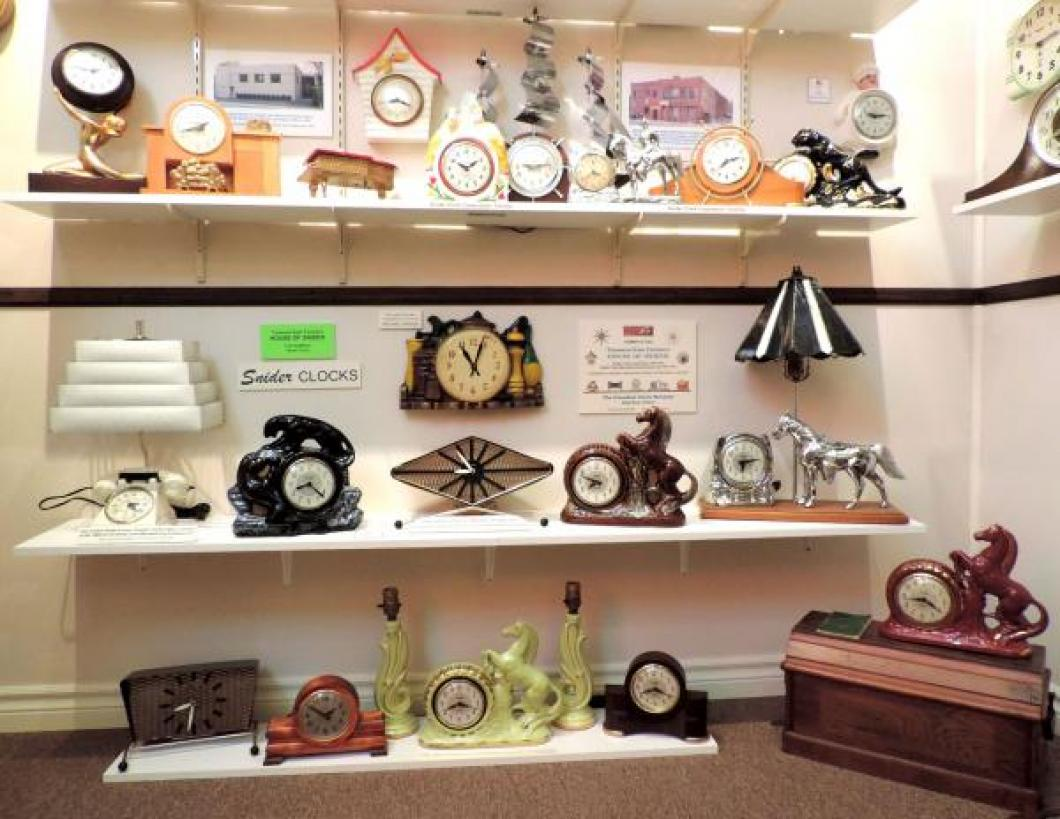 Many styles of clocks made by Harry Snider in Toronto in the 1950s.