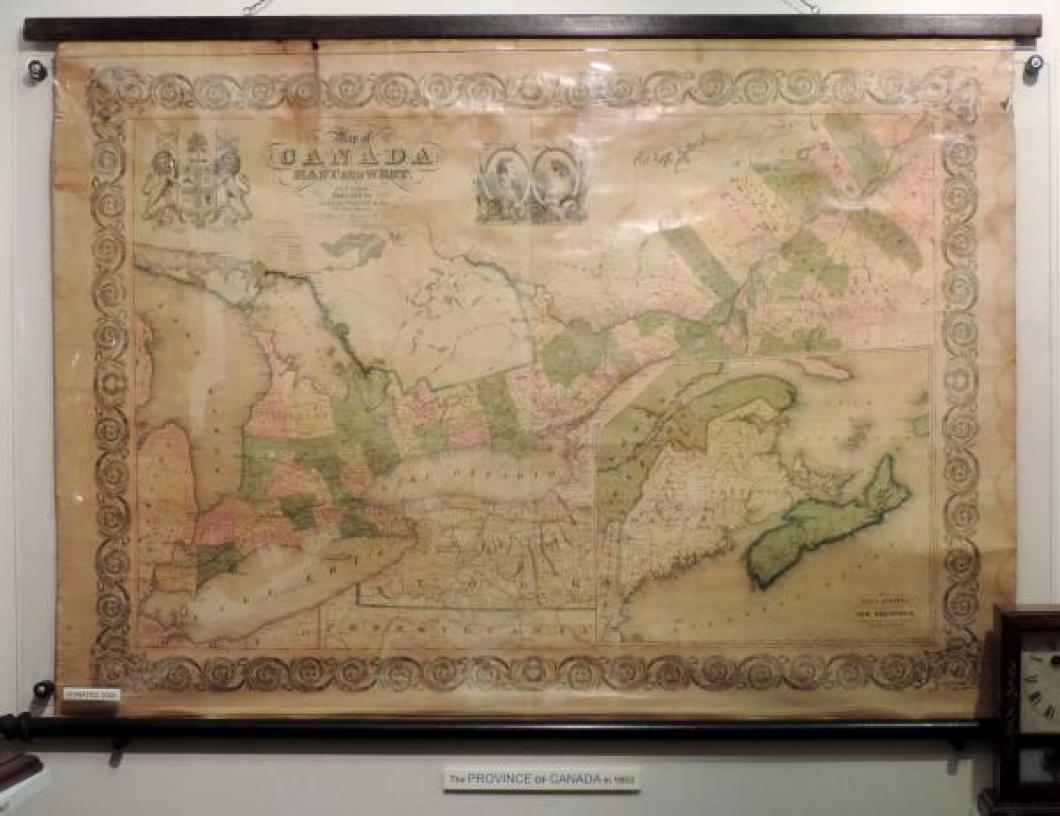 Large 1853 wall map: the PROVINCE (yes!) of CANADA, East and West, for 26 years, 1841 to 1867 (confederation).