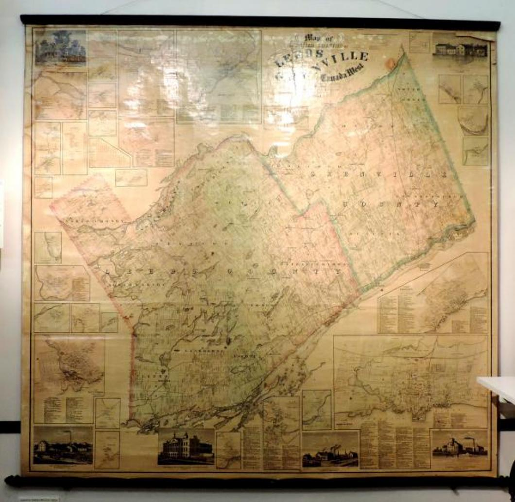 Very large wall map: the United Counties of Leeds & Grenville (in Ontario today), printed in Kingston, Canada West in 1861 when County peddlars were importing Seth Thomas clocks from Connecticut.