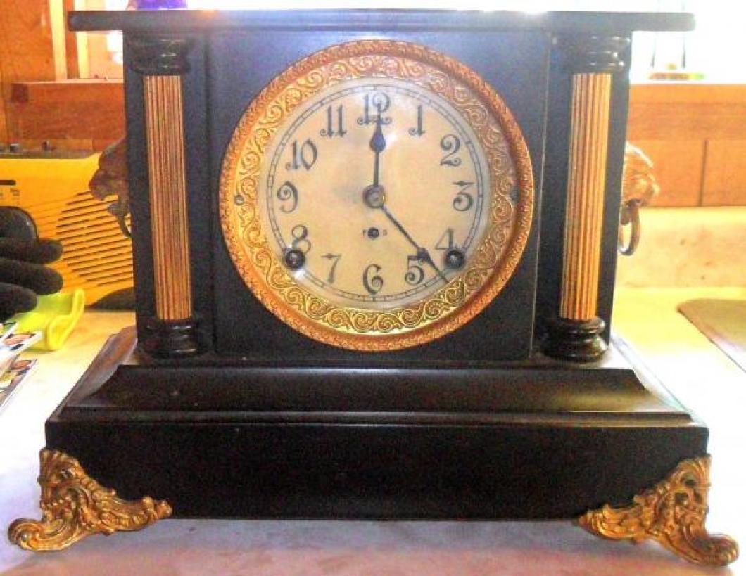 The front of the SECOND confirmed (2017) PREMIER model Pequegnat mantel clock
