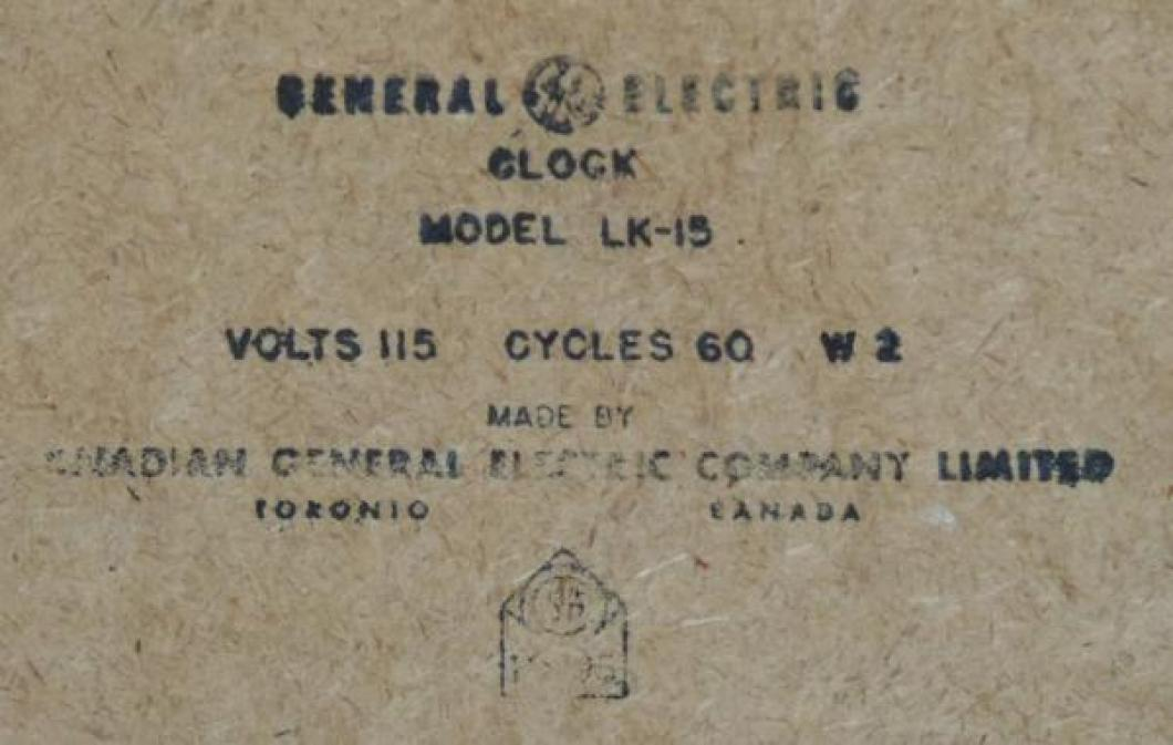 A typical later ink label (model LK-15) on back of clock