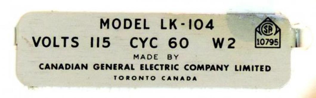 One version of metal label on back (LK-104)