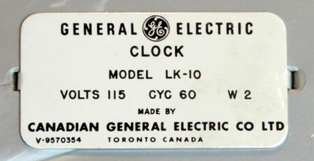 Another typical Toronto metal label (model LK-10) on back of clock