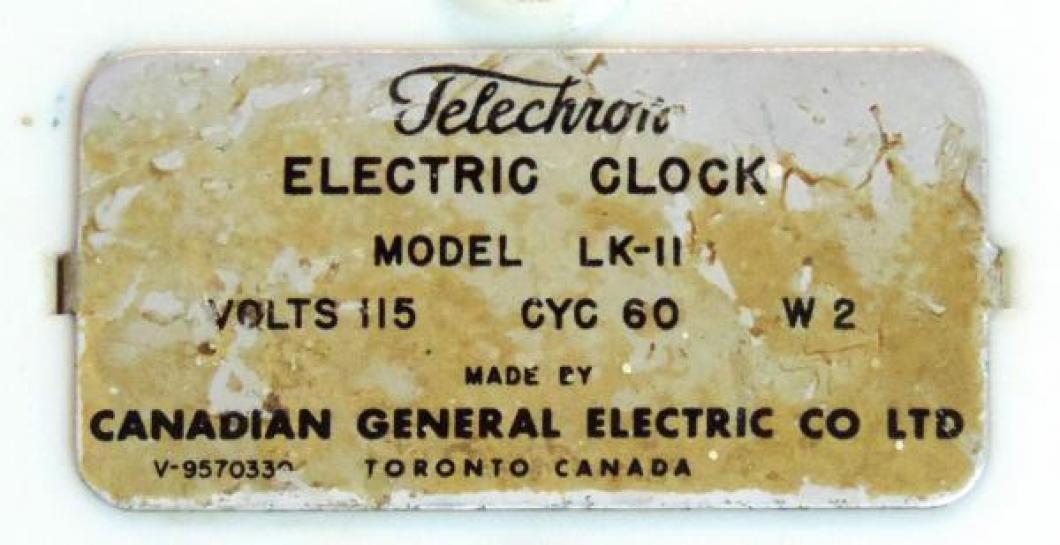 A third Toronto metal label, Telechron, clock model LK-11