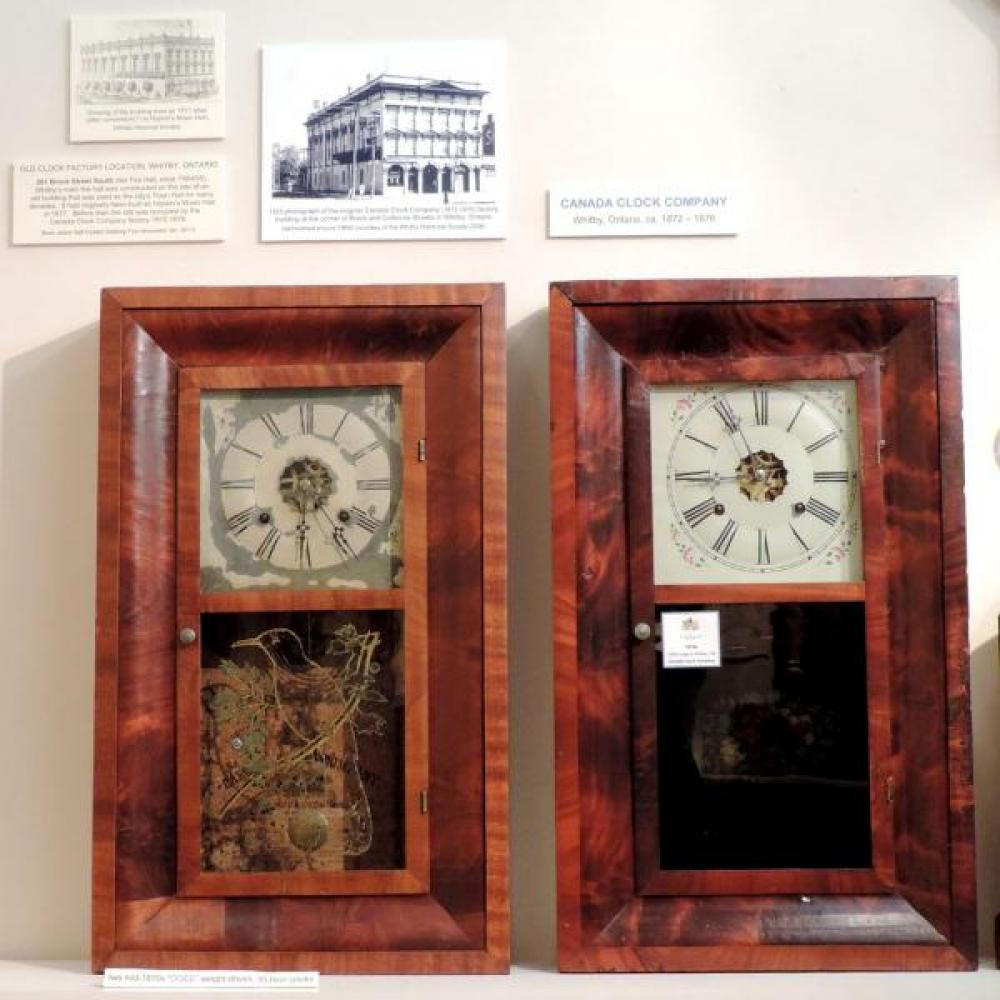 Canada Clock Company Whitby 1872-1876 two OG clocks different labels