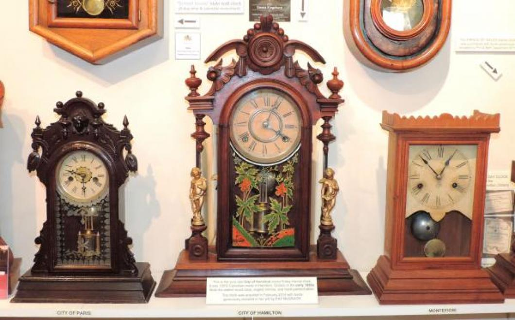 Canada Clock Company Hamilton 1880-1884 three mantel clocks, City of Hamilton at centre
