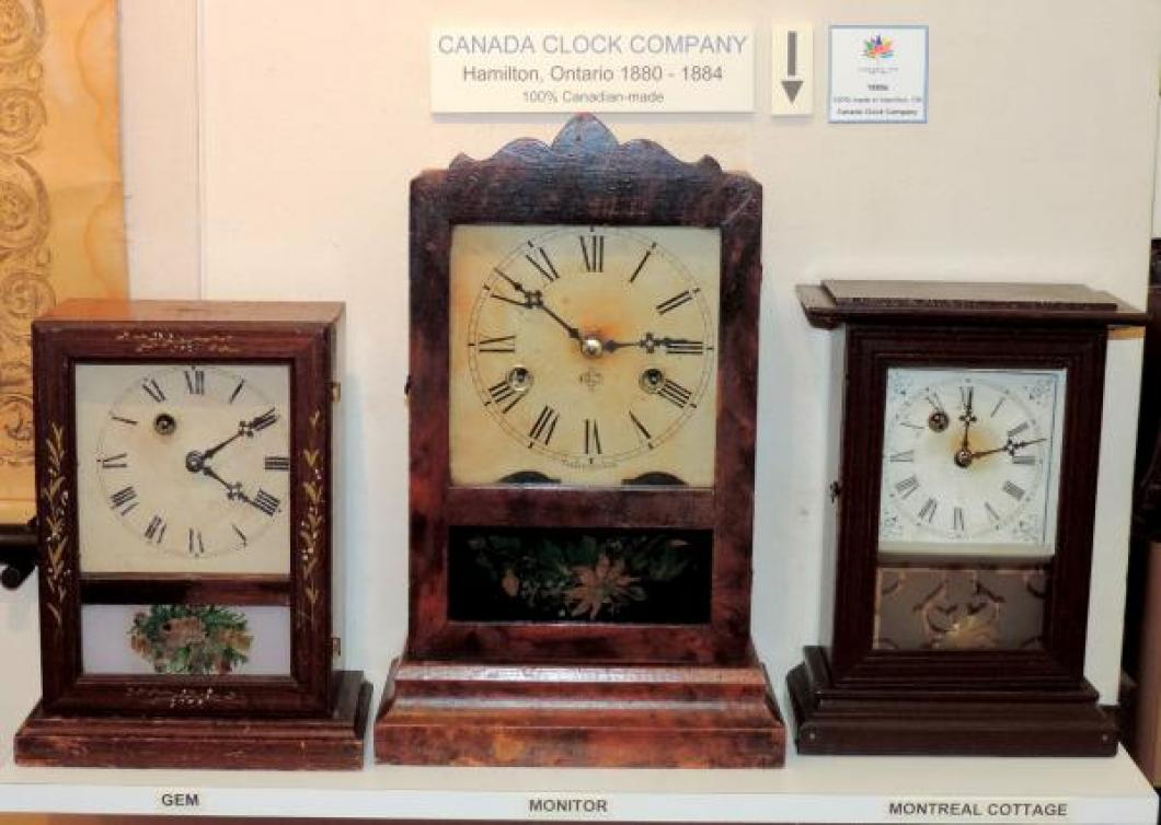 Canada Clock Company Hamilton 1880-1884 three small mantel clocks, Monitor at centre