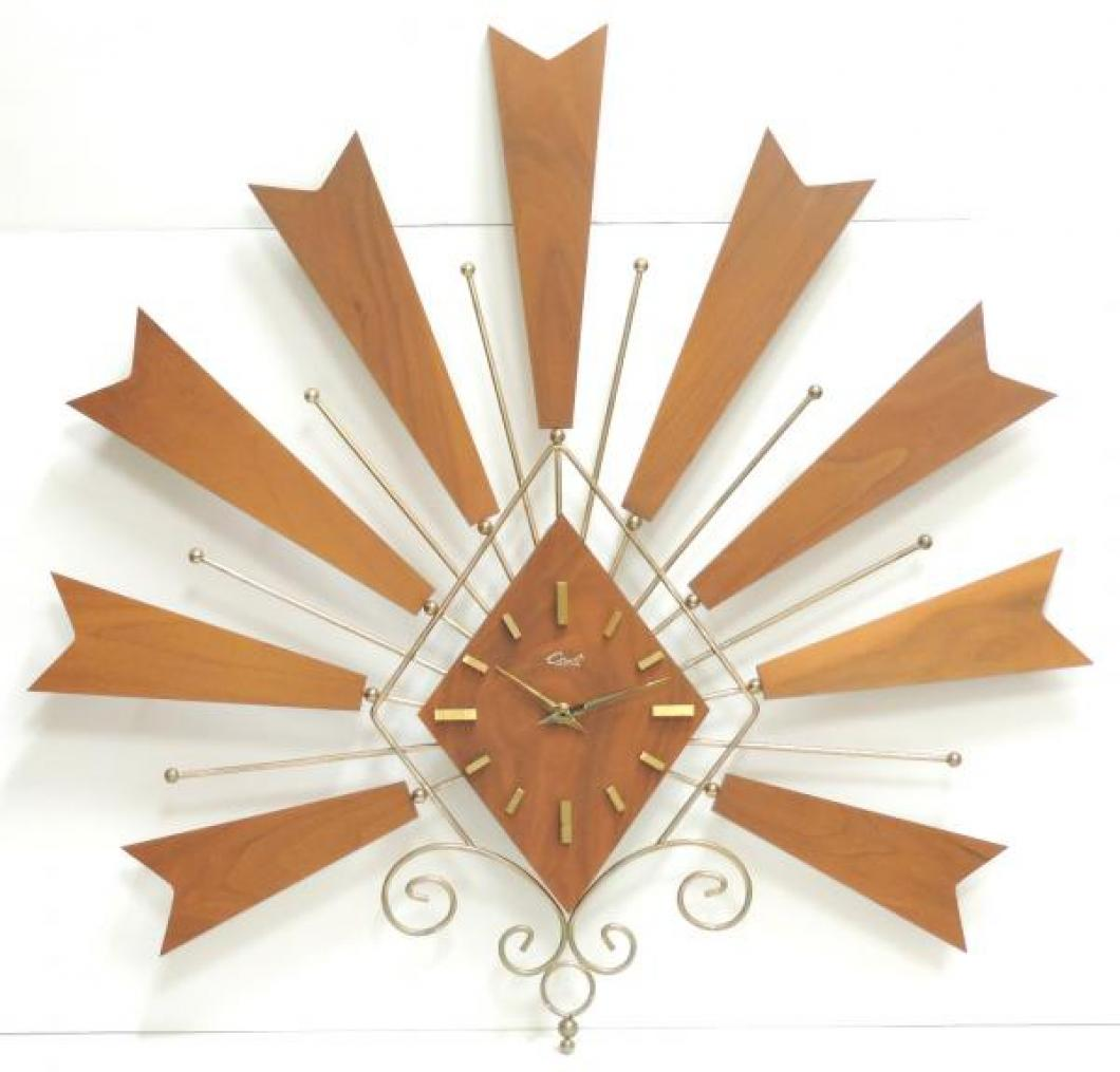 """1960s fan-shaped battery wall clock, diamond-shaped dial, thick walnut parts, 25"""" W (museum collection)"""