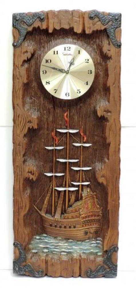 """1970s GALLEON molded polymer foam battery wall clock, 35"""" H (museum collection)"""