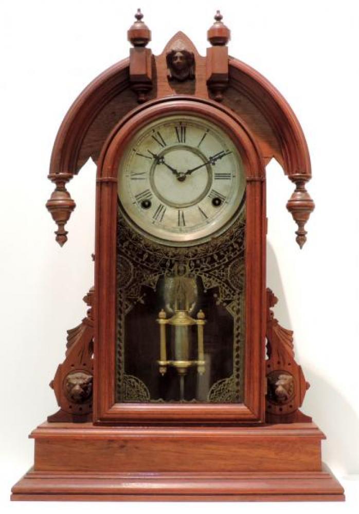 "Canada Clock Company, Hamilton CROWN JEWEL mantel clock (""horns"" version) FRONT"