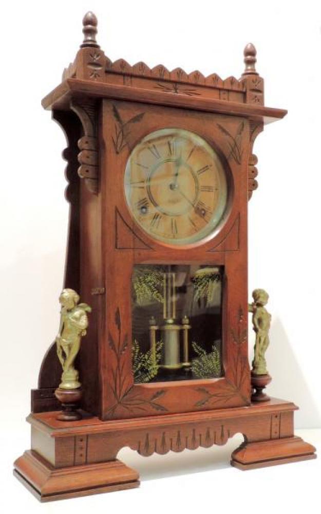 Canada Clock Company, Hamilton CITY of HALIFAX model mantel clock ANGLE