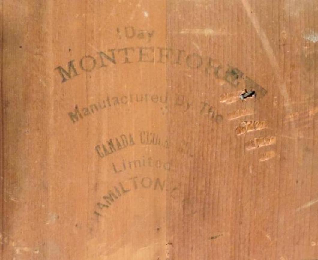 Canada Clock Company, Hamilton MONTEFIORE model mantel clock INK LABEL on back