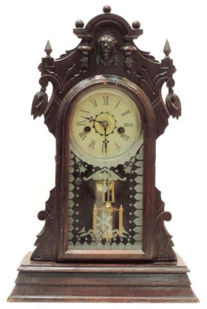 Canada Clock Company, Hamilton CITY of PARIS model mantel clock FRONT (smaller version, Connell repro tablet, old dark varnish)