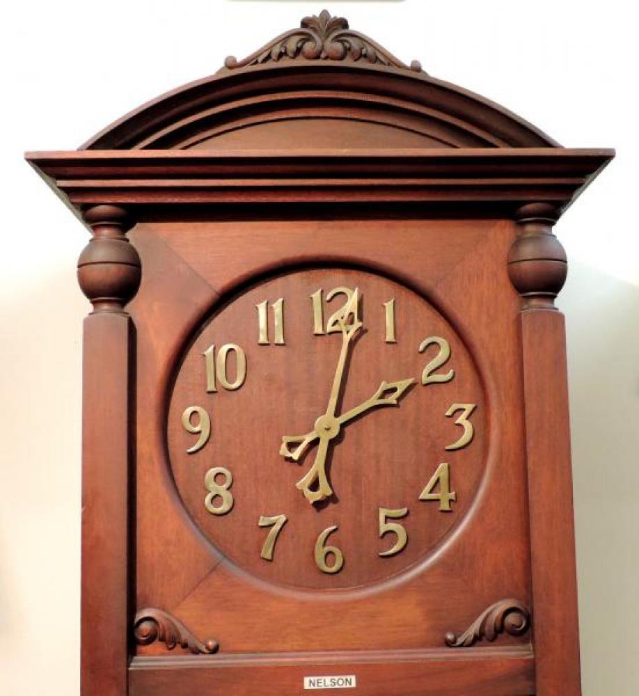 DIAL closeup NELSON model hall clock, mahogany case