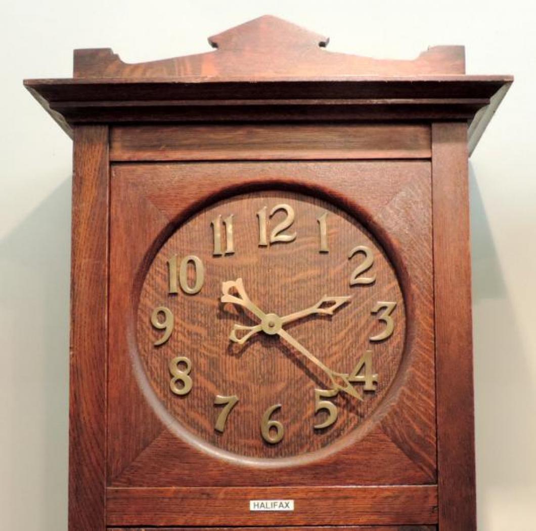 DIAL closeup HALIFAX model hall clock, oak case