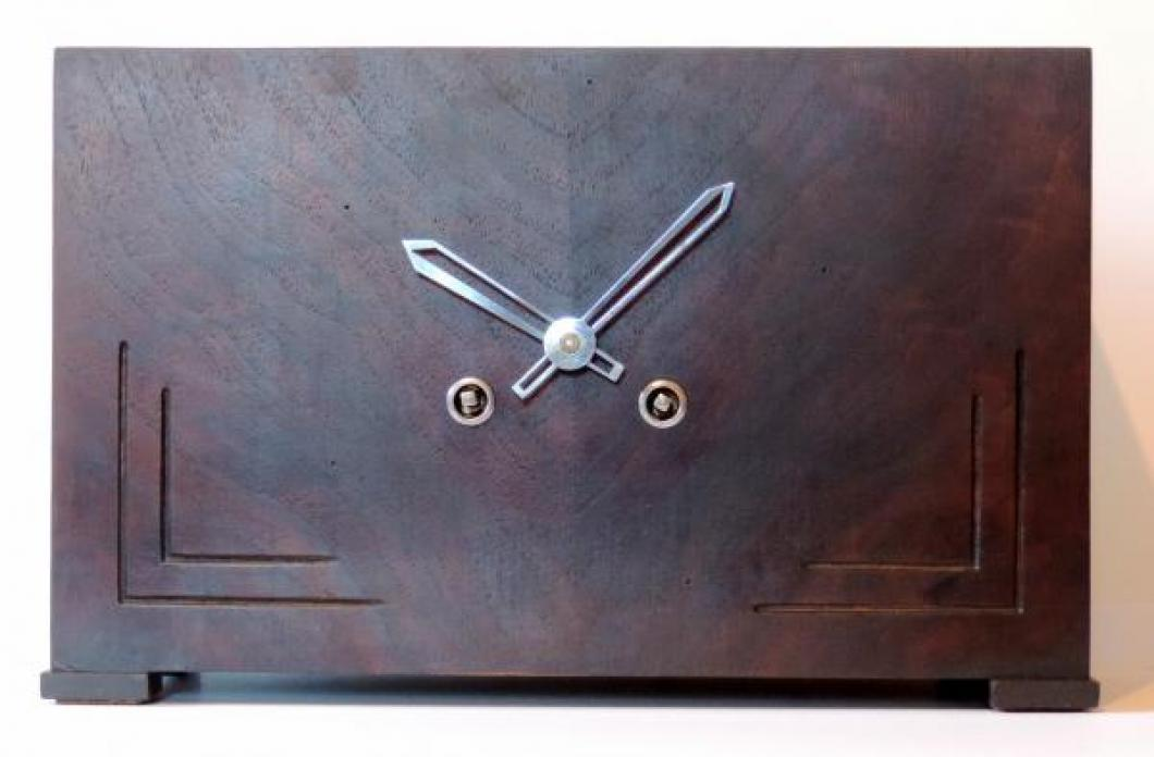 unusual plain wood box case, NO DIAL, time & strike movement mantel clock DONATED 2018