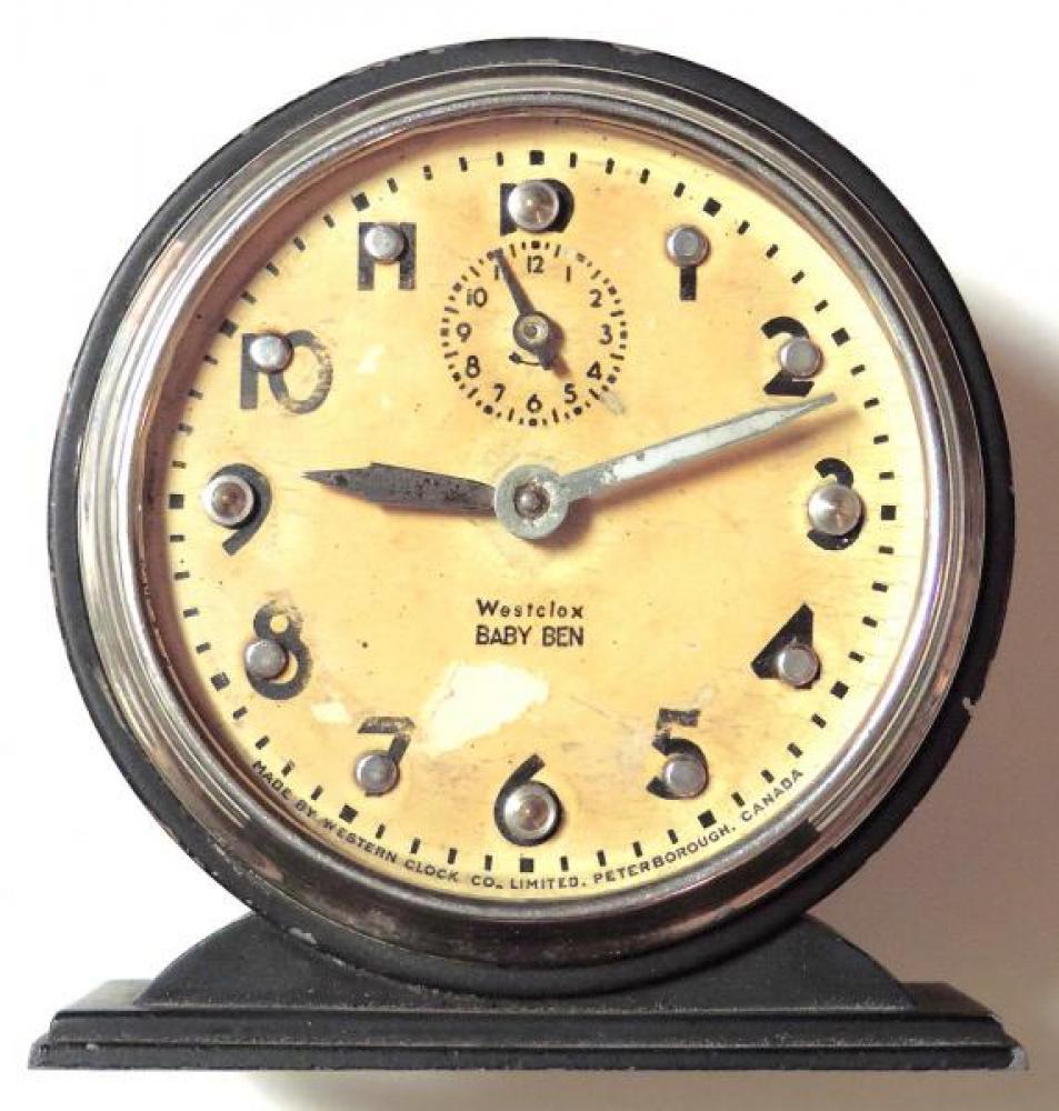 Westclox Peterborough late 1930s Braille Baby Ben alarm clock