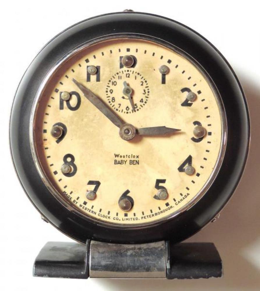 Westclox Peterborough 1940s Braille Baby Ben alarm clock