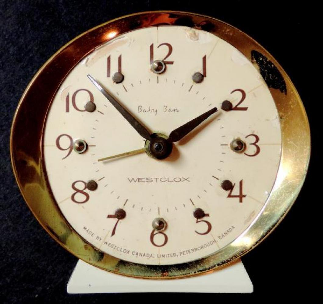 Westclox Peterborough 1970s Braille Baby Ben alarm clock