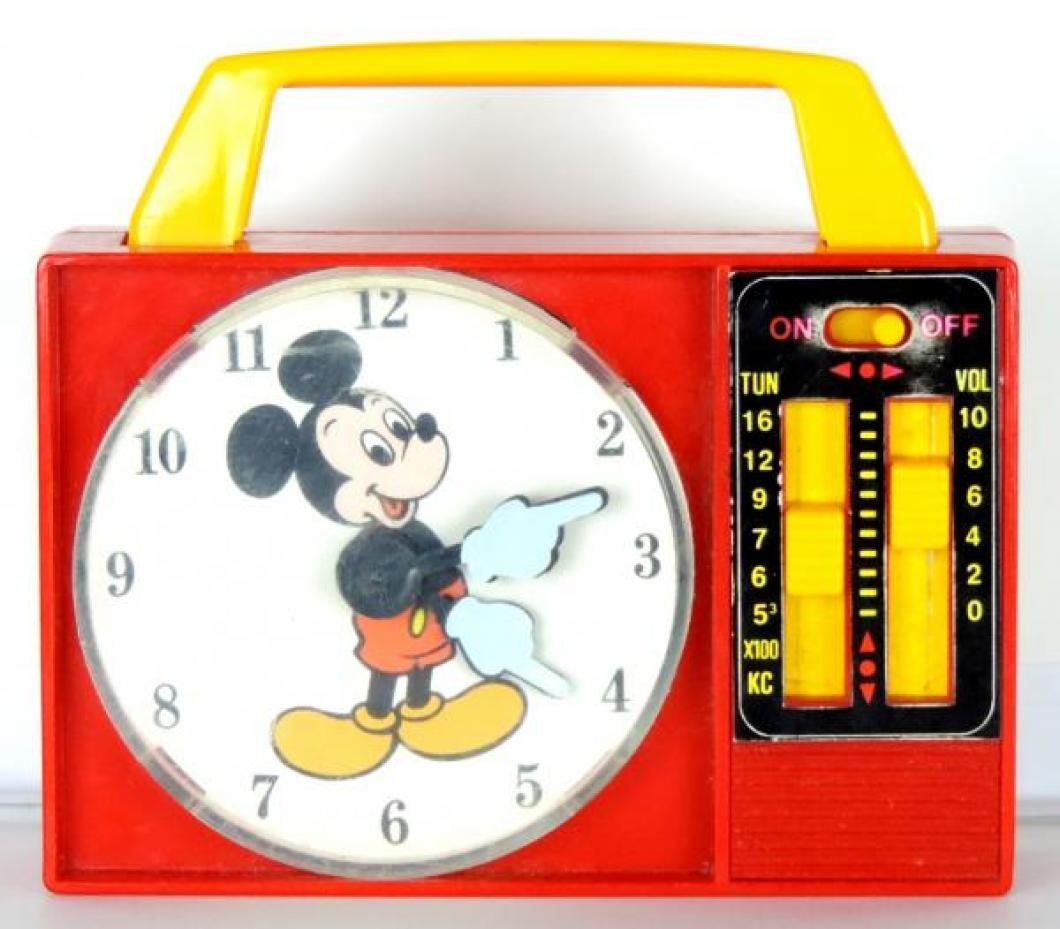 ILLCO Mickey Mouse toy clock radio, windup music box, hands turn, on off switch