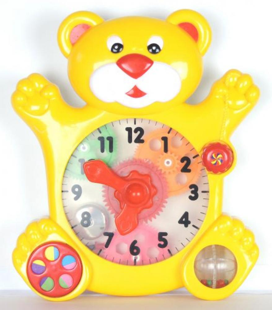 Red Box Toy yellow bear time teaching clock, move hands manually, hear clicking and see gears turn