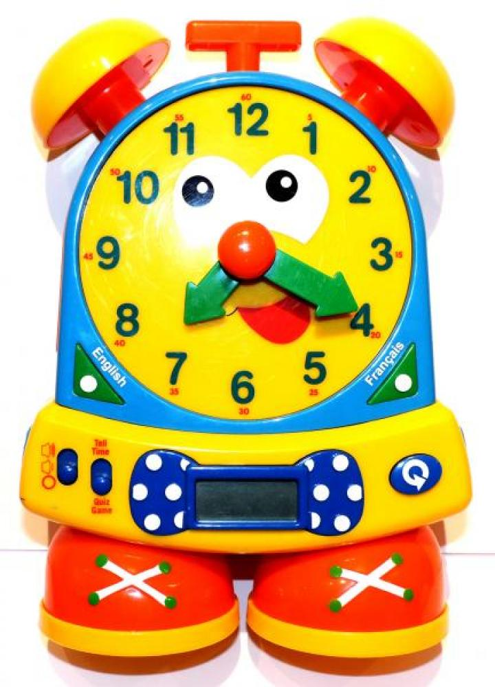 THE LEARNING JOURNEY time teaching clock, battery, voice chip, BILINGUAL, turn minute hand, time and quiz functions