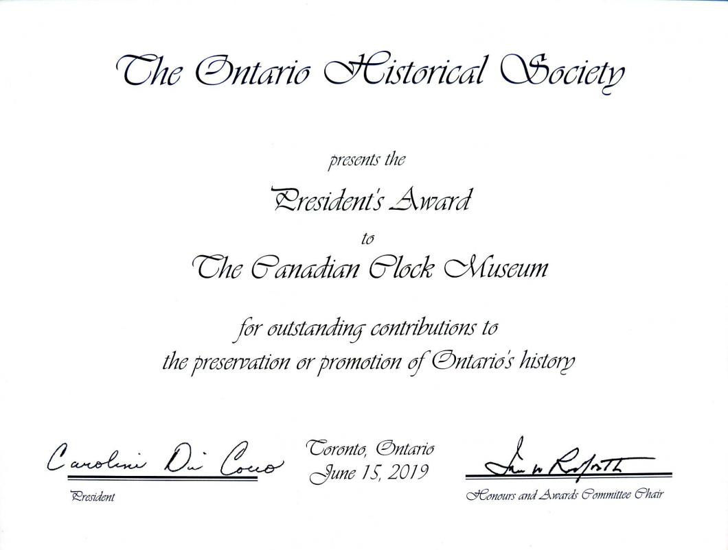 The 2018 OHS President's Award presented to The Canadian Clock Museum June 2019