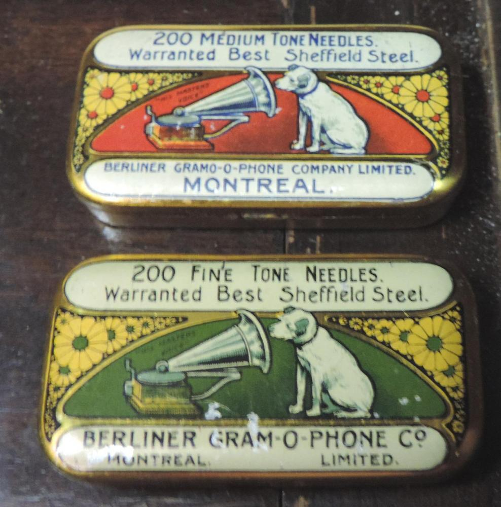 Needle Tins of replaceable Fine and Medium steel needles for early 78s record players
