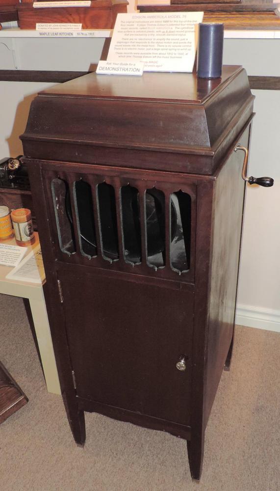our Edison ca 1920 mahogany AMBEROLA 75 floor model music cylindars player