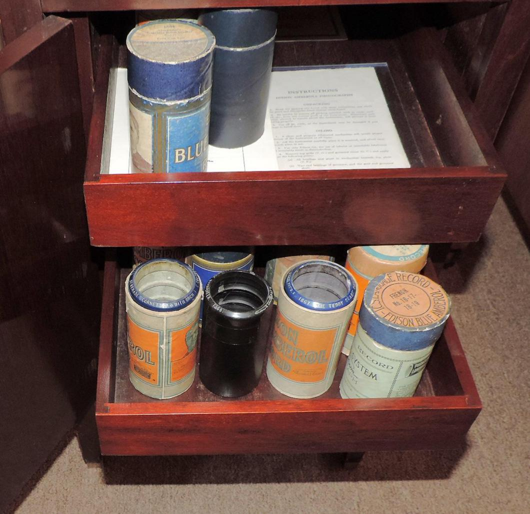 Two of the storage drawers for Edison music cylinders in our ca 1920 AMBEROLA 75 floor model player